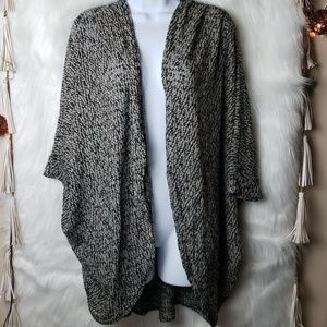 Painted Threads Open Front Black Cardigan